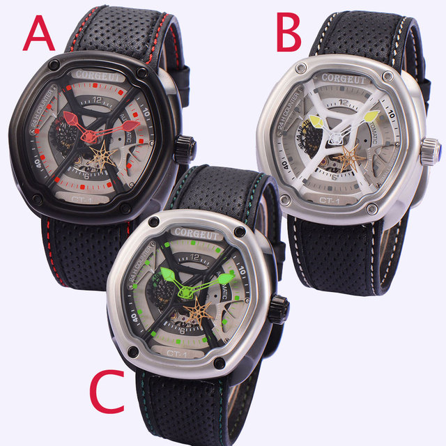 Sweet gifts 46mm Corgeut Black Dial Green red Yellow hands Crystal Luxury Brand Japan Miyota 82S7 Automatic Movement men's Watch