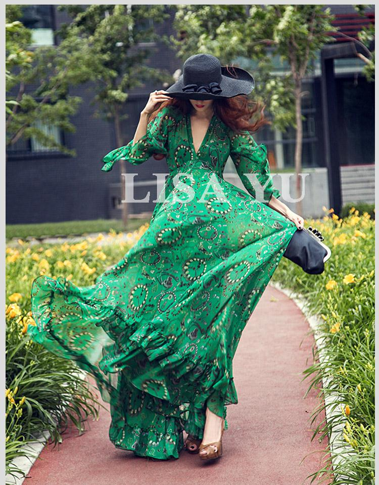 New Arrival Rainforest Floral Print Bohemian Chiffon Long Maxi Dress Party Prom V neck Maxi Dress