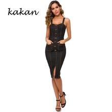 Kakan 2019 summer new womens denim dress hot sexy strap bag hip long button
