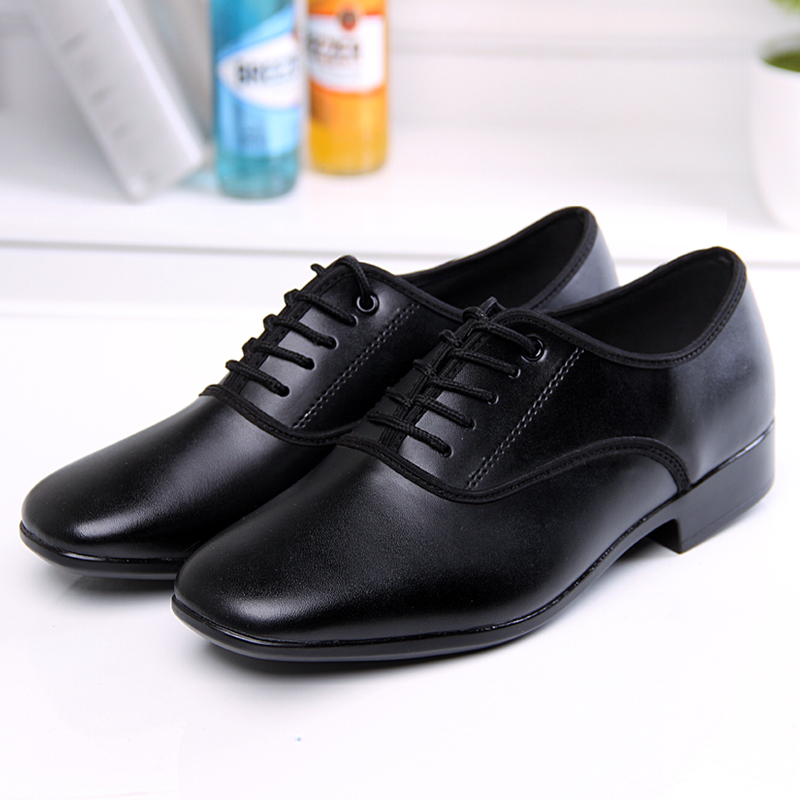 Cowhide Leather Quality Men Boys Latin Ballroom Shoes 2.5cm Low Heel Black Chacha Tango Moderm Dance Shoes Sport Shoes Men