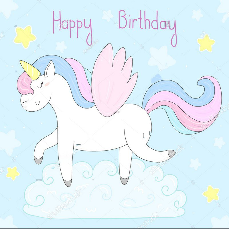 Cute cartoon unicorn rainbow star cloud happy birthday blue Background Vinyl cloth High quality Computer print party backdrop