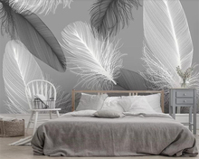 Beibehang Custom wallpaper modern Nordic black and white feather TV background wall home decoration 3d living room