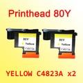2x C4823A Желтая печатающая головка совместима с hp 80 Designjet 1000 1050c 1055 см