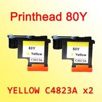 2x C4823A 호환되는 노란색 hp 80 Designjet 1000 1050c 1055 cm