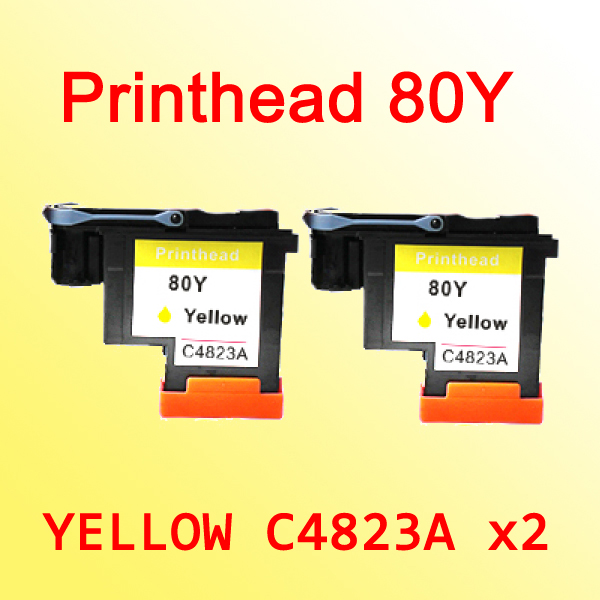 2x For hp80 C4823A yellow printhead for hp 80 Designjet 1000 1050c 1055cm c4821a printhead for hp 80 for hp80 print head for hp designjet 1000 1050c 1055cm printer