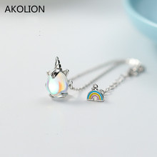 Wholesale Silver Rainbow Unicorn Animal Chain Bracelet 925 Lucky Moonstone For Women Birthday Party Accessories Gift