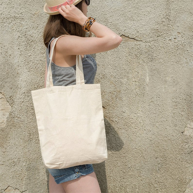 New Eco Cotton Tote Reusable Women Storage shoulder Shopping Bag Beach Handbags Grocery fruit bags CT001 5