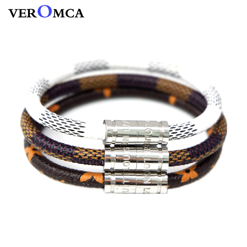 ccc03669d VEROMCA Trendy Leather Bracelet Homme Stainless Steel Men Bracelets Sliver  Magnetic Clasp Customized Size Bracelet Women ...