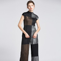 Issey Miyake Women Fashion Two Pieces Sets Autumn Summer Female Hit Color Tops and Full Pants Set Ladies Elegant Suits