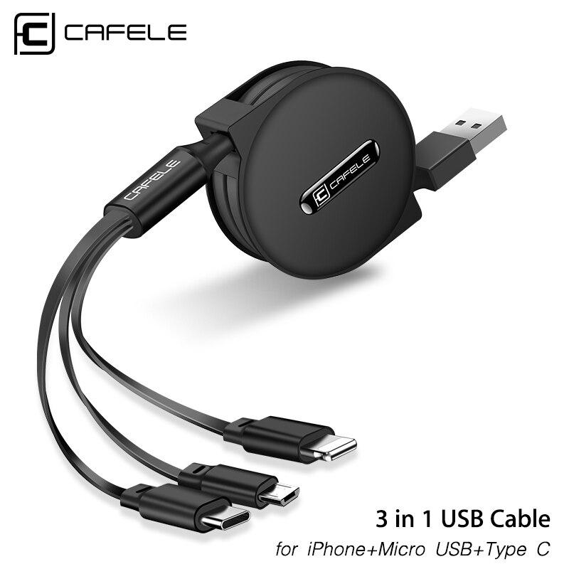 Cable USB retráctil Cafele 3 en 1 para iPhone Micro USB tipo C Cable plano carga rápida para iPhone Cable + Micro USB + tipo C