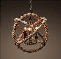 Ретро Ностальгия ручной конопли веревка люстра подвесной потолочный светильник творческий Лофт Стиль веревка лампа