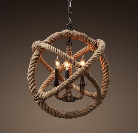 Retro Nostalgia Hand woven Hemp Rope Chandelier Suspended Ceiling Lamp Creative Loft Style Rope lamp|rope lamp|lamp creative|lamp style - title=
