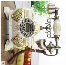 Europejski styl retro klasyczne europejski antique telefon telefon antyczne telefonu dekoracje domu umeblowanie tanie tanio Antique style Kalendarze GEOMETRIC Podłoga zegary Cyfrowy DIGITAL