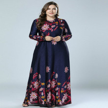 цены 4XL Plus Size Long Maxi Dress Women Flower Print Tight Waist Belt O-Neck Dress Large Swing Bodycon Autumn Party Dresses Clothes