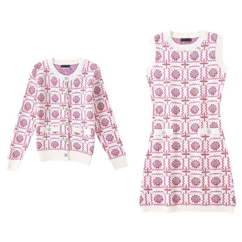 Ensembles Marque Deux Fit Qualité Mode Manteau Sans Tricoté De Pink Robe Slim Femmes Manches Pièces Ensemble Cardigan Luxe Haute Femelle 5Atpw5