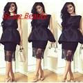 Women Transparent Lace Little Black Dresses Cocktail Gown Peplum Sleeveless Knee Length Satin Vestidos De Fiesta Party Dress