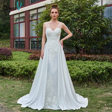Dressv V Neck A-line Long Wedding Dress Sleeveless Court Train Appliques Button Floral Garden Church Princess Wedding Dresses