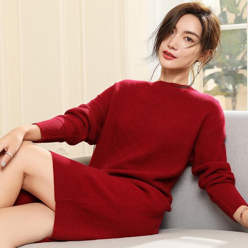 Femmes Chandails Style Long 100% Pashmina Tricot Pulls Hiver Nouvelle Arrivée Oneck Doux 5 Couleurs Cavaliers Pur Cachemire Robes