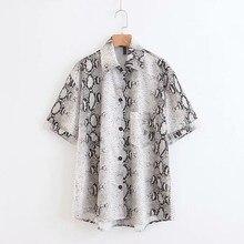 Retro Single Pocket Snake Print Shirt Woman Short Sleeve Loose Shirt Casual Turn-down Neck Blouse flower print single pocket shirt