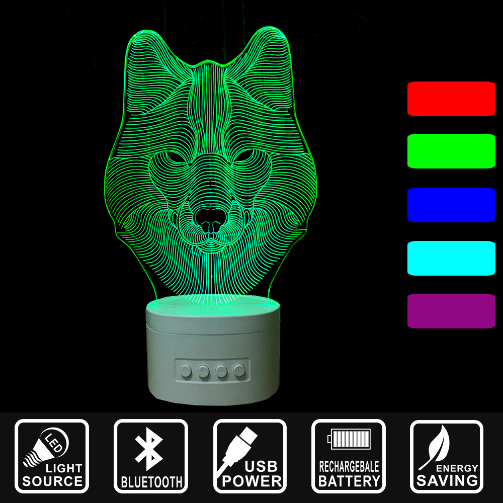 3D LED USB Night Light Bluetooth Speaker color change along with Music Nightlight Asmosphere Lamp Home decor lamp lion IY803395