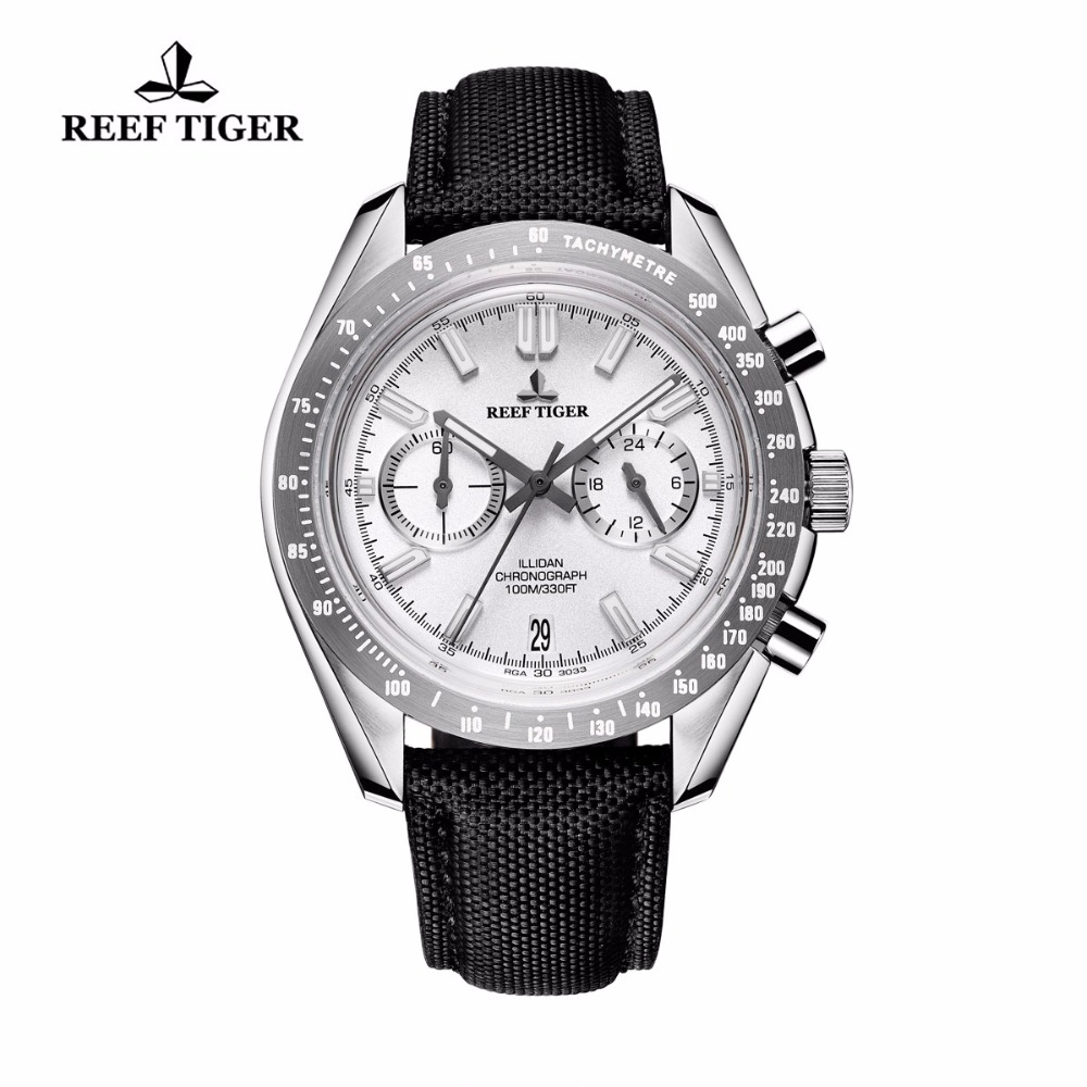 2018 Reef Tiger Mens Designer Sports Watches 316L Steel Luminous Quartz Calfskin Nylon Strap Waterproof Watch Relogio Masculino цена и фото
