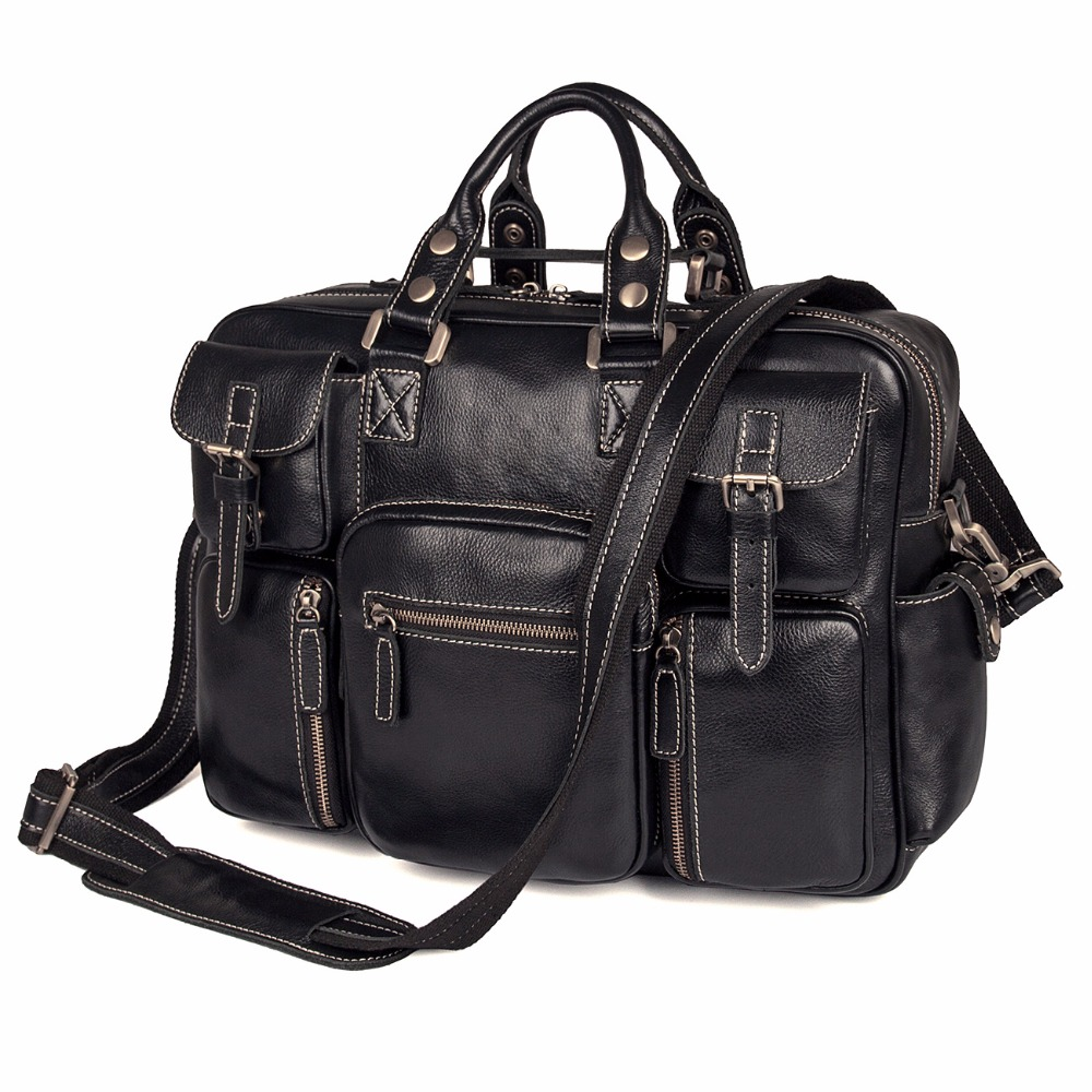 J.M.D Imported Top Layer Cow Leather Handbag High Quality Laptop Bag For Office Business Laptop Bag 7028A-1