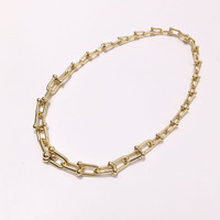 High Quality Stainless Steel U Shape Lock Shackles Choker Necklace For Women Fashion Jewelry Best Gift DJN015