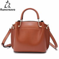 Genuine Leather Woman Package Portable Baotou Layer Cowhide Fashion Solid Color Straps Joker Single Shoulder Messenger