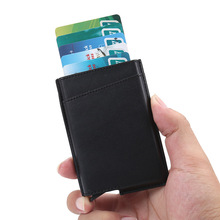 Wholesale New Metal Card Holder RFID Aluminium Alloy Credit PU Leather Wallet Antitheft Automatic Pop Up