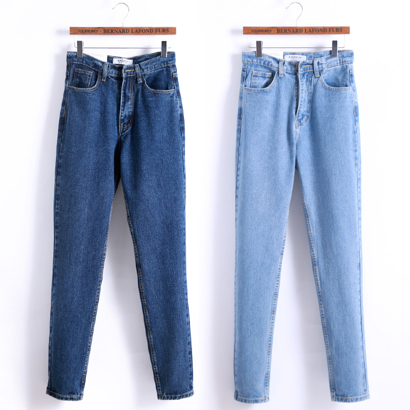 2017 popular luxury brand retro high quality casual women high waist straight cotton jeans summer boyfriend Slim multiple large
