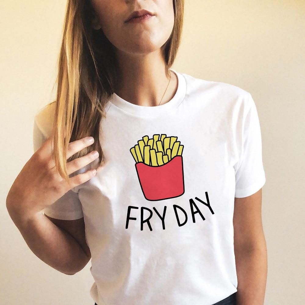 Fry Day French Fries Women Tshirts Graphic Shirt Harajuku Kawai Tees T Shirt Summer Fashion Tumblr Outfits Clothes