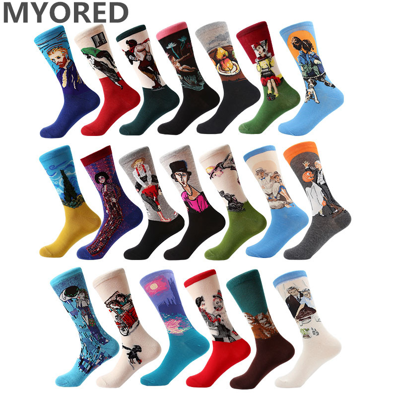 MYORED 1 pair Dropshipping men women 3d retro art   socks   cotton Retro Vintage Van Gogh Mural World Famous Painting funny   socks