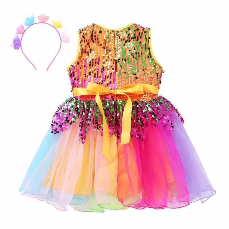Детская танцевальная одежда для девочек с круглым вырезом, без рукавов, с блестками, цветком радуги, фатиновое платье, наряд с обручем для волос, Современный Джаз, латинский танец