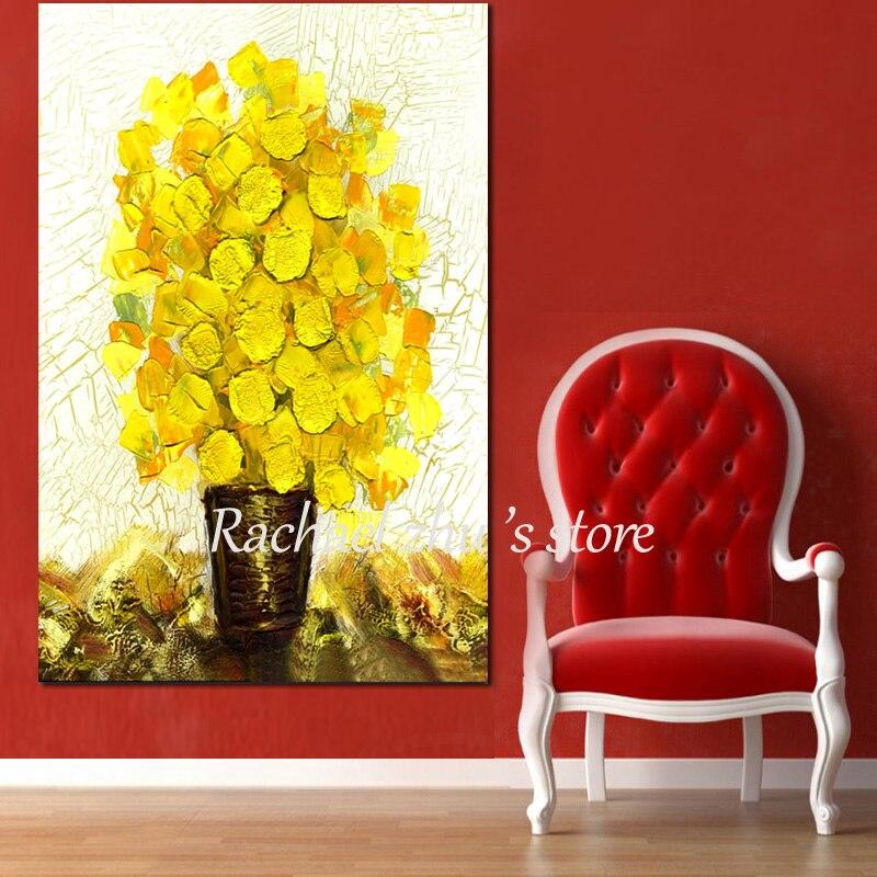 100% Handmade Abstract Palette Knife Flower Tree Oil Painting On ...