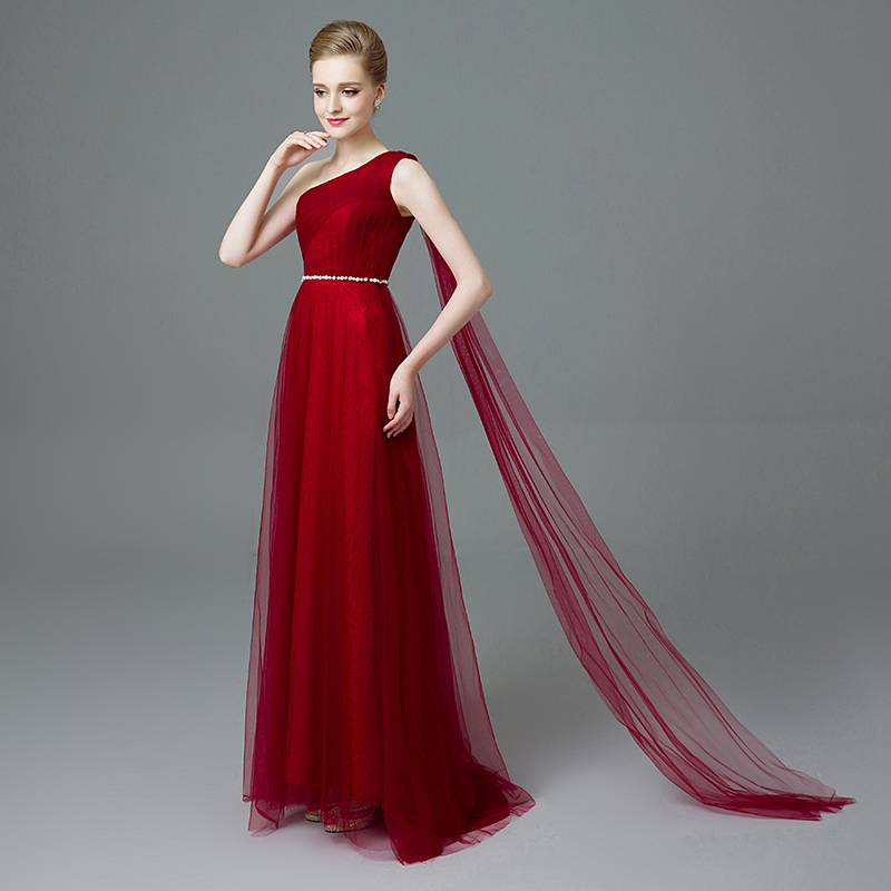 Burgundy color evening dresses
