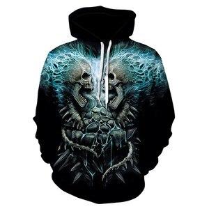 Image 3 - 2018 New Gothic Skull Hoodie Mens Hip Hop Hoodie Men / Womens Thin 3D Sweatshirt Print Fake Denim Jacket Skull Hoodie Pullover