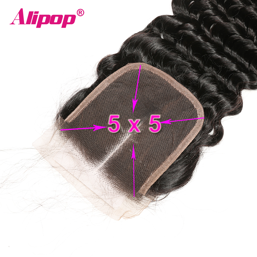 5x5 Closure Brazilian Deep Wave Lace Closure Free Middle Three Part Pre plucked With Baby Hair Swiss Lace Remy Human Hair ALIPOP