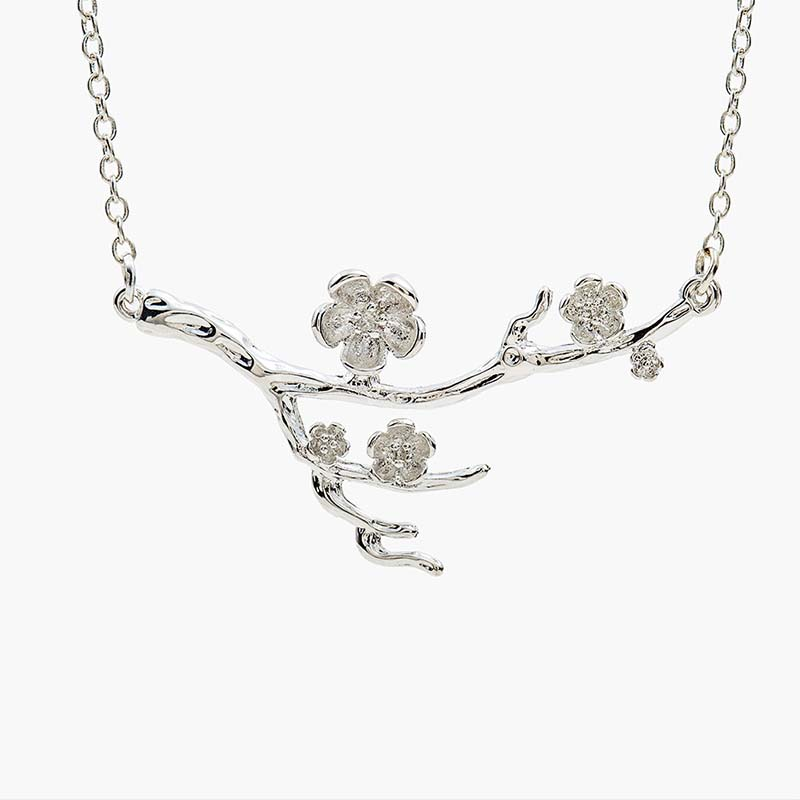 Make U Beautiful Store Bright Silver Branch of Plum Blossom Flower Pendant Plant Necklace for Women Around 51 cm