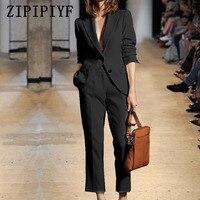 ZIPIPIYF Brand Women 2017 2 Pieces Sets Womens Business Suits Black Pants Suit Formal OL Business