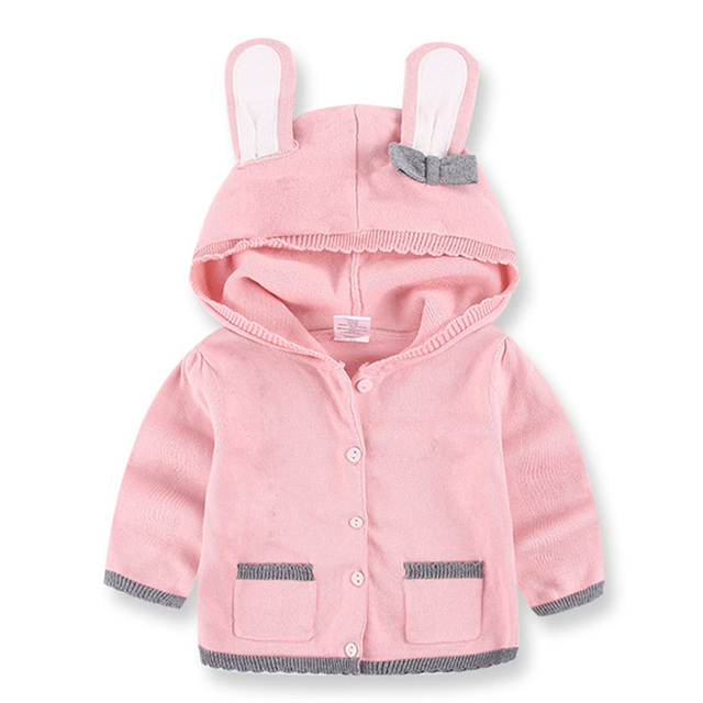 2017 Children Lolita Sweaters Rabbit Ears Girls Sweater with Hooded Wool Cotton Knitwear Winter Infant Sweater Kids Clothing