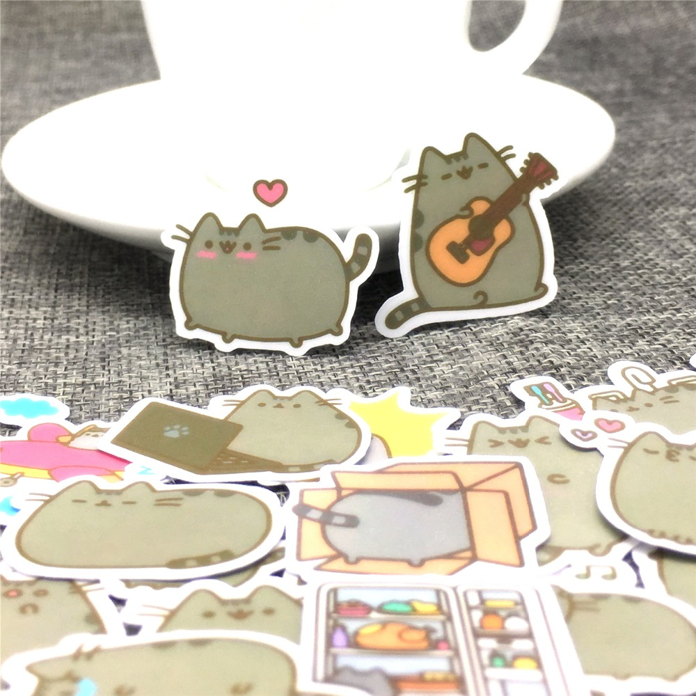 40 Different Mini Cartoon Cat Paper Sticker Decoration DIY Ablum Diary Stickers Scrapbooking Label Sticker Kawaii Stationery