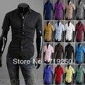 2016 Продажа Camisas Мужчины Рубашки Бесплатная Доставка Люди Уменьшают Подходят Уникальный Декольте Стильное Платье Короткий Рукав Рубашки 16 цветов, размер: M-xxl