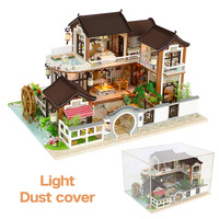 DIY 3D Wood Doll House Retro Yard Villa Building Miniature Dollhouse With Furniture Kits For Dolls Toys Birthday Christmas Gifts