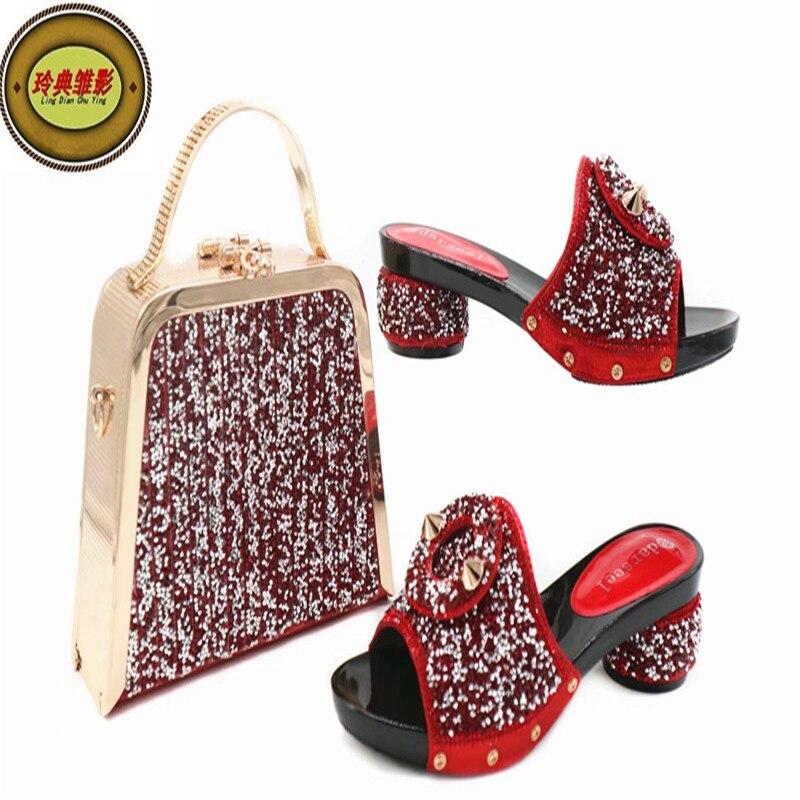 G44 Новое поступление женские сумки и Обувь Лидер продаж Мода горный хрусталь Свадебные туфли на высоком каблуке женские босоножки подходящ...
