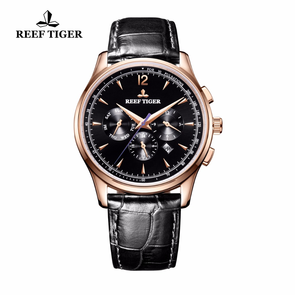 Reef Tiger/RT Luxur Brand Mens Watches Fashion Sports Genuine Leather Strap Automatic Rose Gold Analog Watch Relogio Masculino gold sliver leather analog fashion