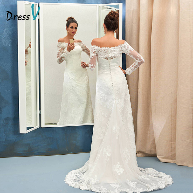 ᗖDressv ivory mermaid wedding dress off the shoulder sweep train ...