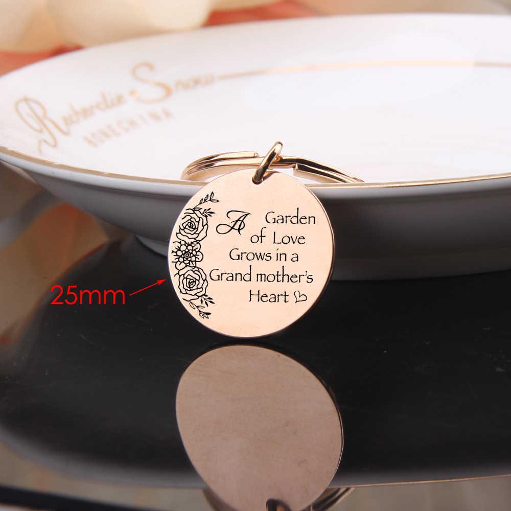 LLavero de joyería FLYANGEL para regalos de abuela llavero grabado jardín del amor crece en el corazón de una abuela bolso lindo encanto