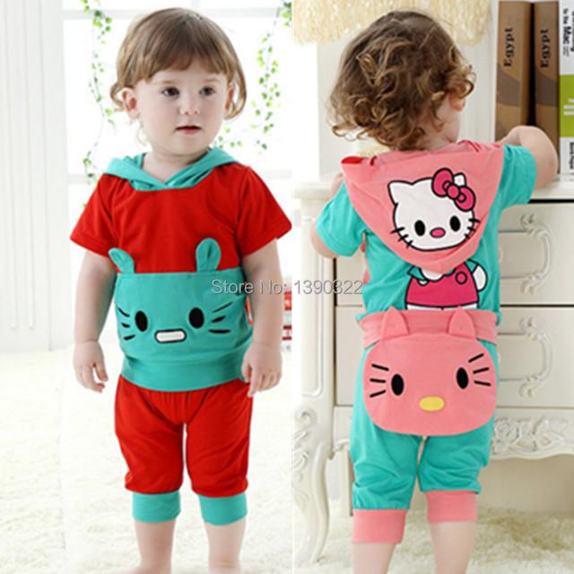 Verão de algodão crianças conjuntos de roupas, Dos desenhos animados manga curta com capuz + calça bebê meninas roupas, Crianças roupas para 6 - 32 mês