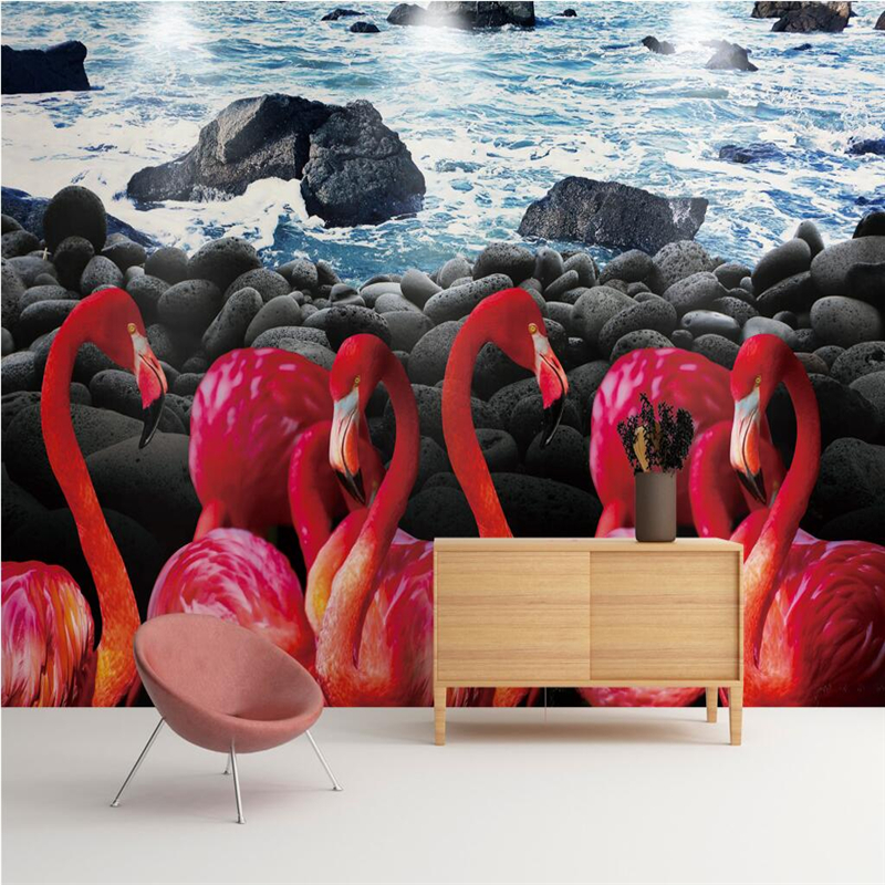 Desktop Murals Custom Home Decor Animal WallPapers Flamingo Seaside Senery 3 d Kitchen Wallpaper Study Bedroom Living Room Decor custom wall papers home decor flamingo sea 3d wallpaper murals tv background kitchen study bedroom living room 3d wall murals