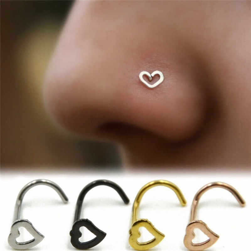 5 Colors Punk Stainless Steel Heart Nose Stud Ring Bar Pin Body Piercing Jewelry